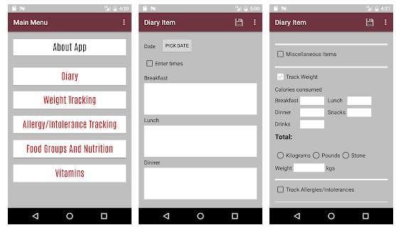 Aplicación android Food Diary