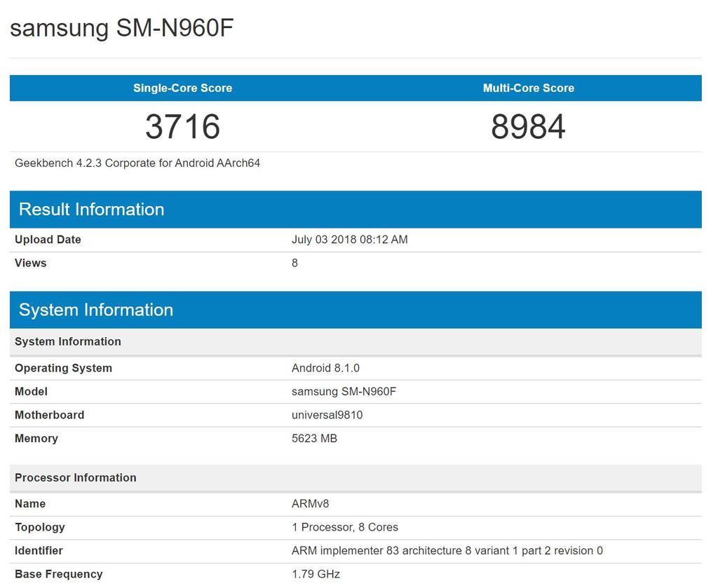 Samsung Galaxy Note 9 en la prueba Geekbench
