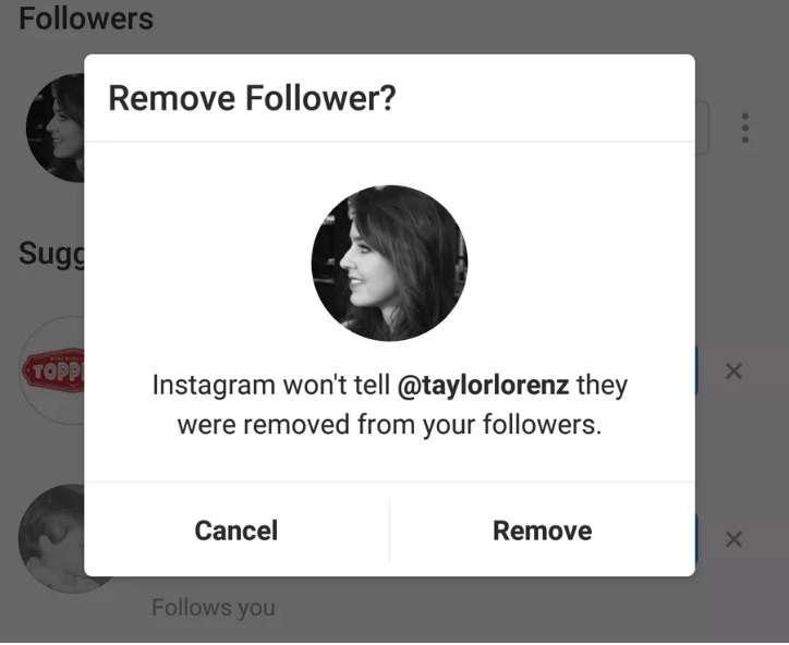 Proceso de eliminado de seguidor en Instagram