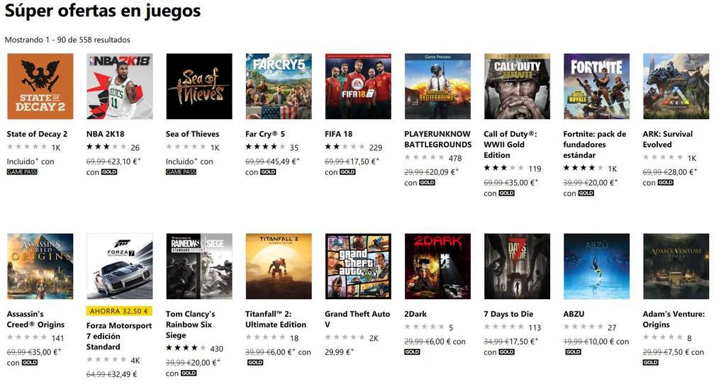 Juegos en oferta para Xbox