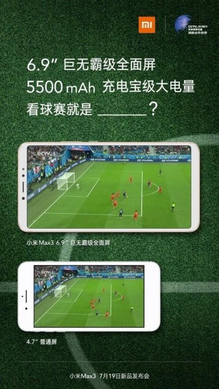 Datos pantalla del Xiaomi Mi Max 3