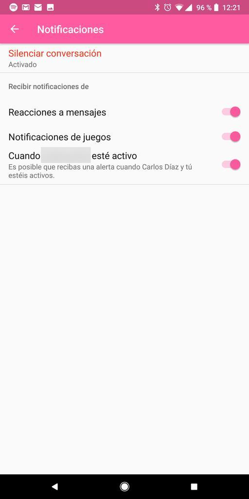 silenciar en Facebook Messenger Pantalla Android