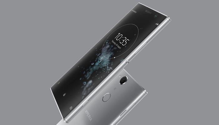 Imagen del teléfono Sony Xperia XA2 Plus con fondo gris
