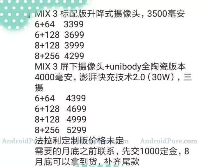 Precios del smartphone Xiaomi Mi Mix 3