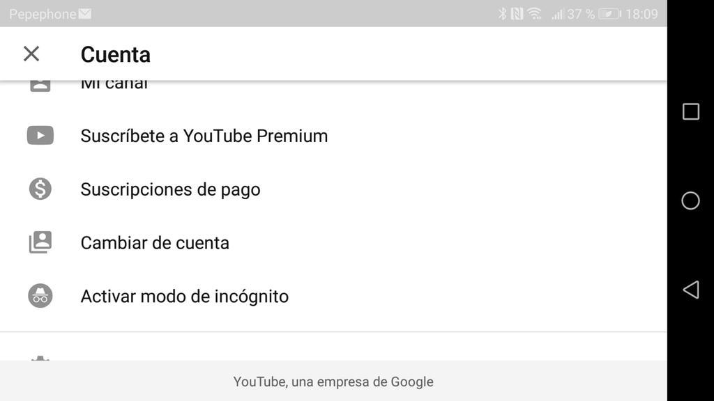 YouTube de incógnito