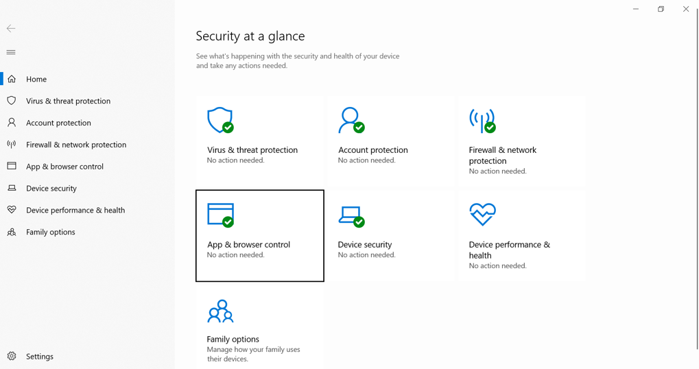 Nueva interfaz de Windows Defender en Windows 10