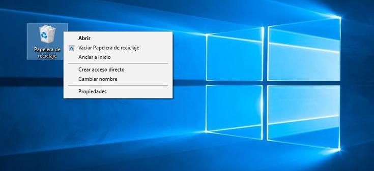 papelera reciclaje Windows 10