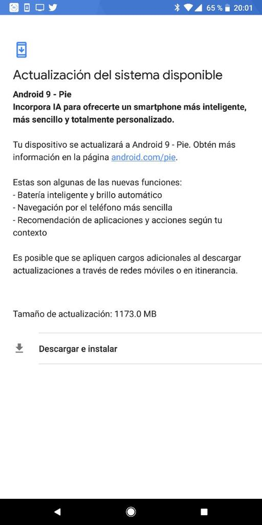 Android 9 Pie en un Pixel 2 XL