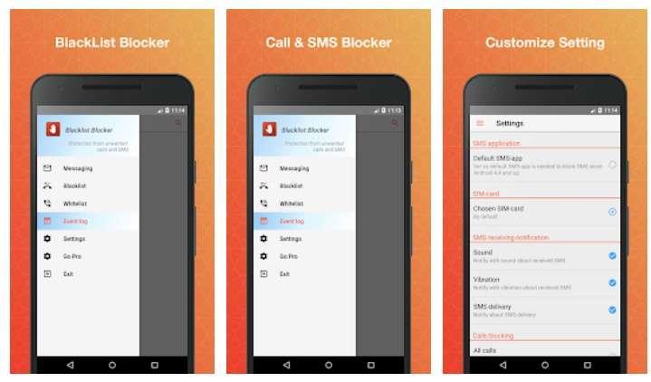 Aplicación Blacklist Pro - Call & SMS Blocker (Ad Free)