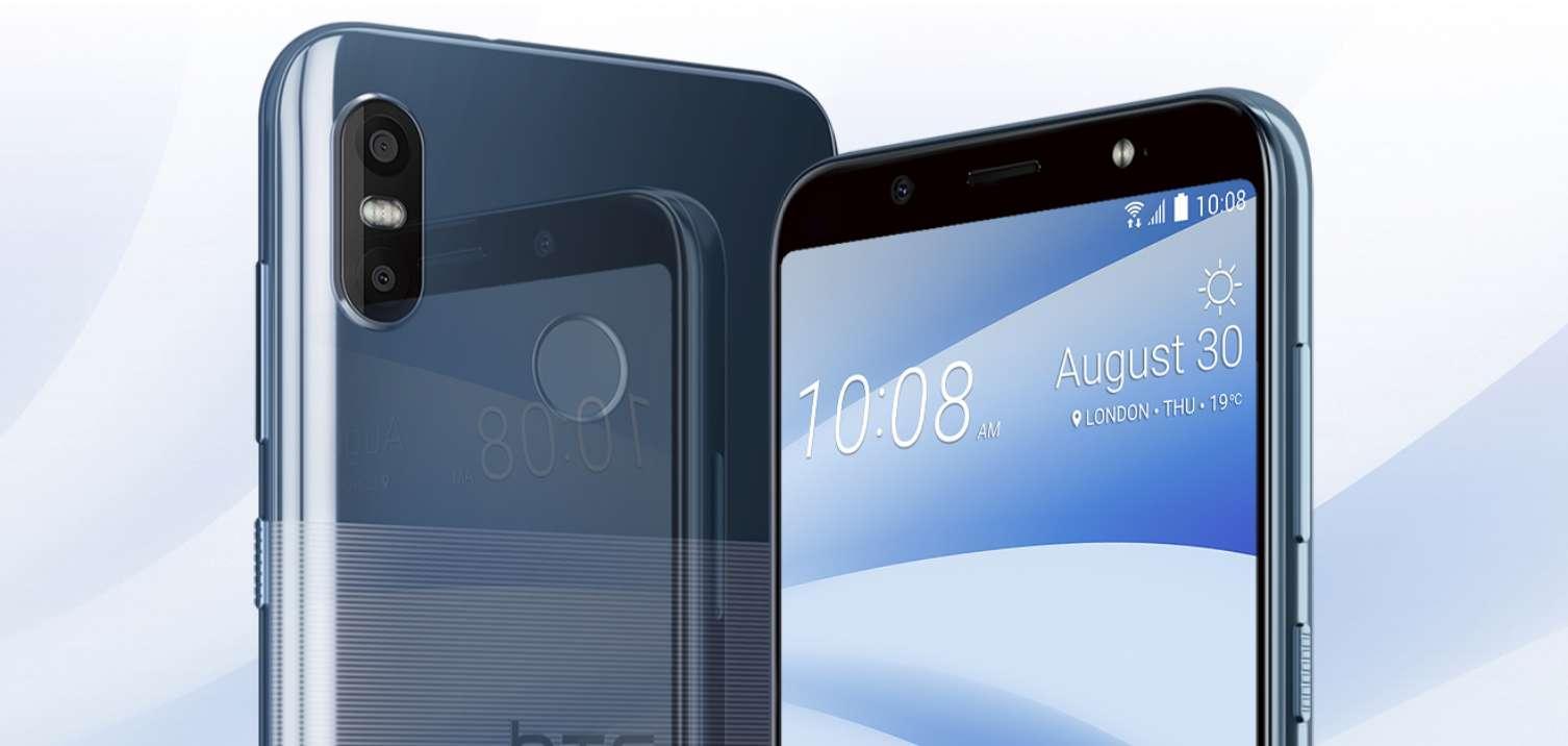 teléfono HTC U12 Life con fondo azul