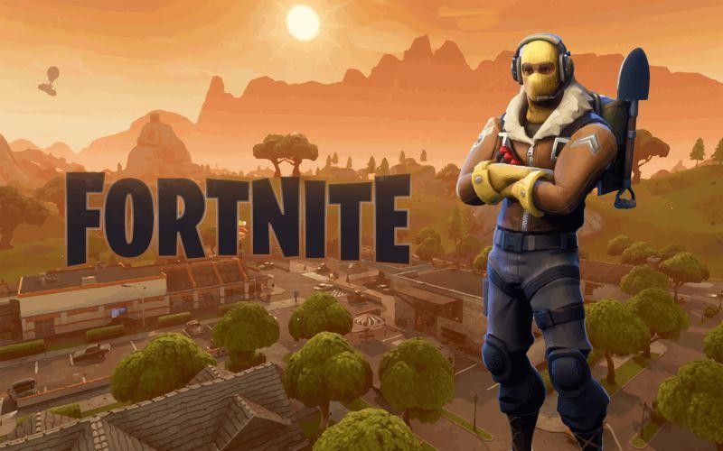 Apertura de juego Fortnite con fondo aterdecer