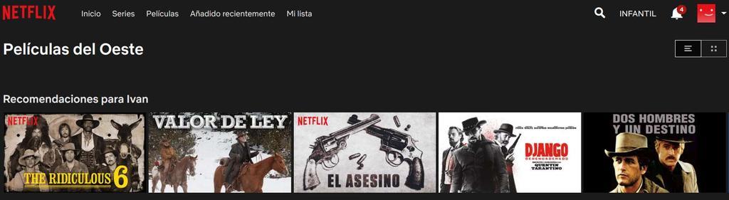 categoría Oeste en Netflix