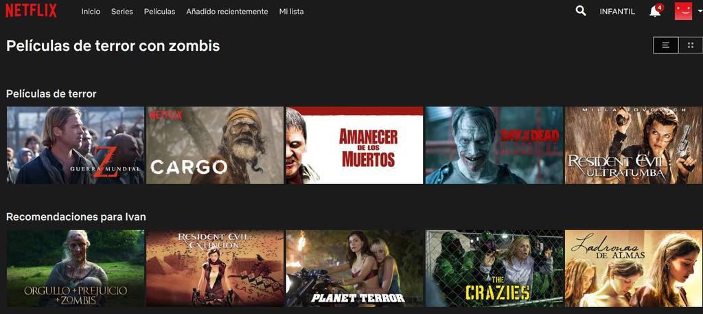 Categoría Zombis en Netflix