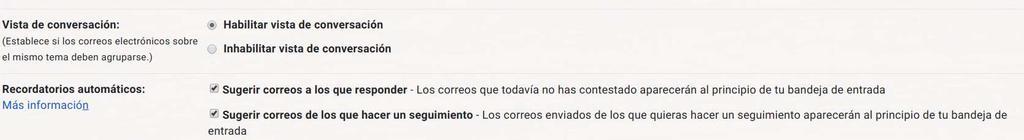 Opciones de la vista de conversación en Gmail
