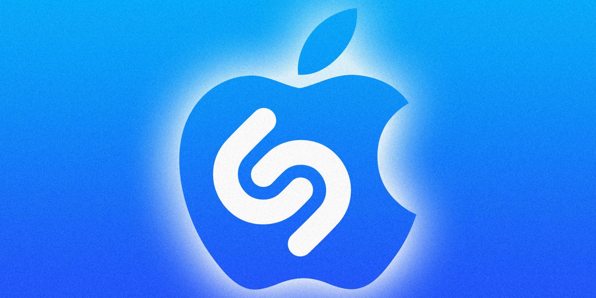 Logos de Shazam y Apple con fondo azul
