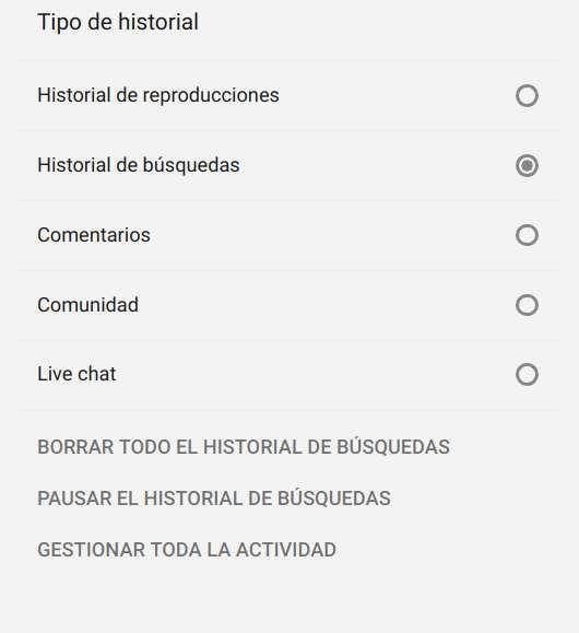 Eliminar el historial de búsquedas en YouTube con el ordenador