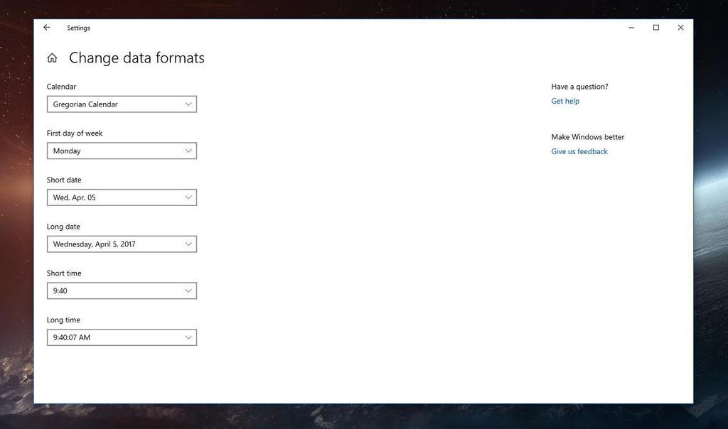 Información regional en la configuración de Windows 10
