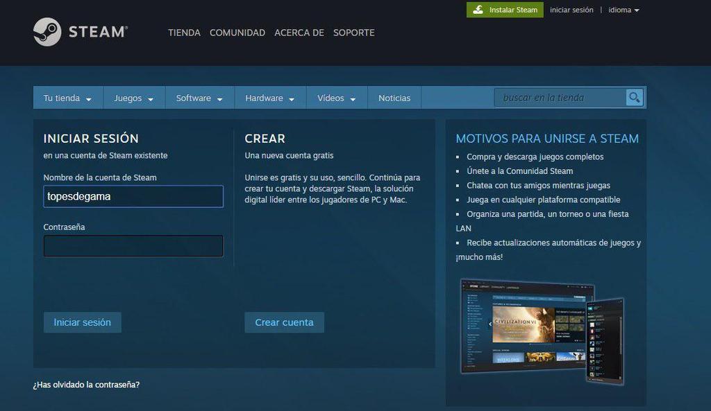 Inicio de usuario en Steam
