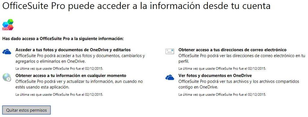 Eliminar permisos en la cuenta de Microsoft