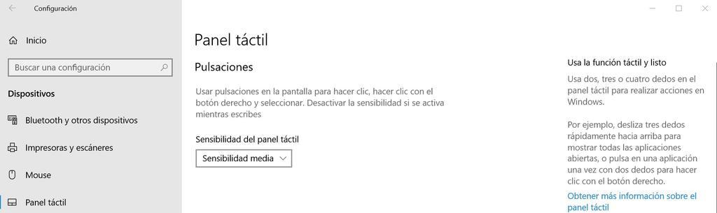 Opciones panel táctil en Windows 10