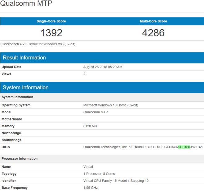 Procesador Snapdragon 1000 en la prueba Geekbench