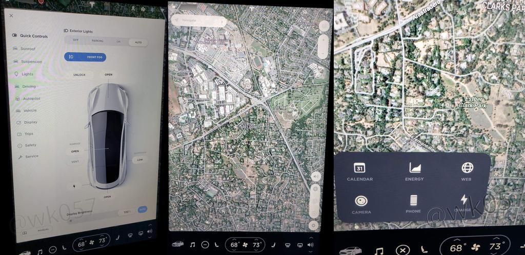 Nueva interfaz de la novena versión del software de Tesla