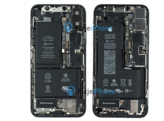 iPhone XS desmontado junto al iPhone X
