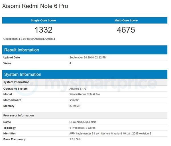Xiaomi Redmi Note 6 Pro en la prueba GeekBench
