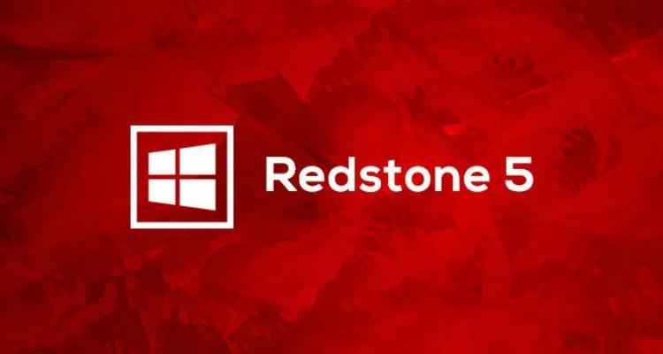 Logo Windows 10 Redstone 5 con fondo rojo