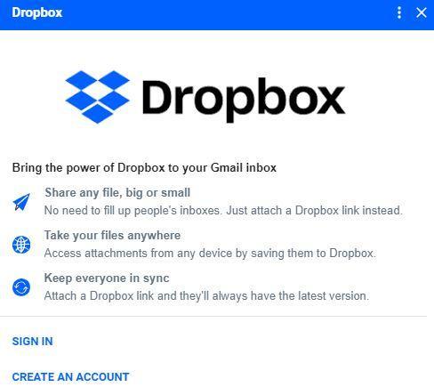 Acceder a cuenta Dropbox desde Gmail