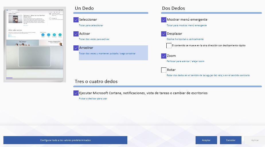 Aplicación propietaria de configuración de un touchpad en Windows 10