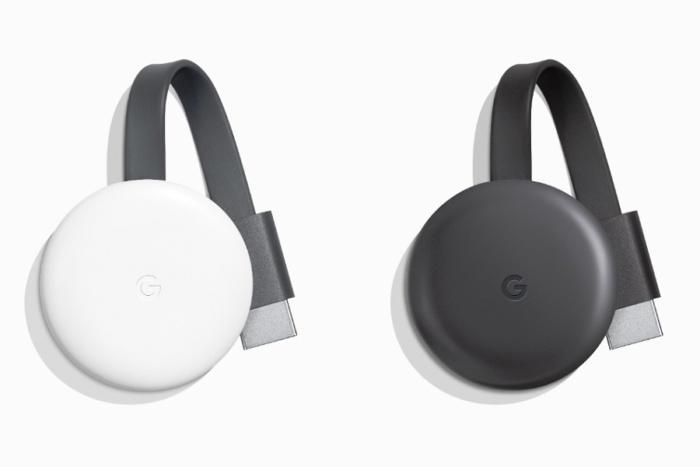 Google Chroemcast de terceera generación en color gris y blanco