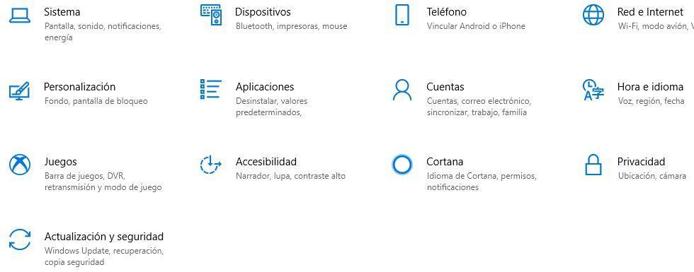 Opciones de configuración en Windows 10