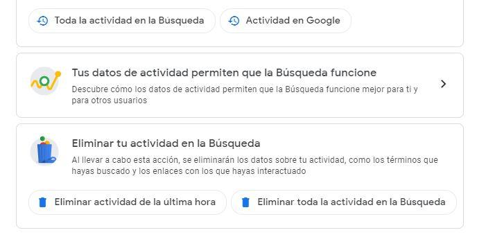 Eliminar datos búsqueda en Google