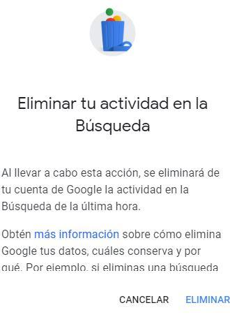 Datos búsquedas Google conformar eliminar