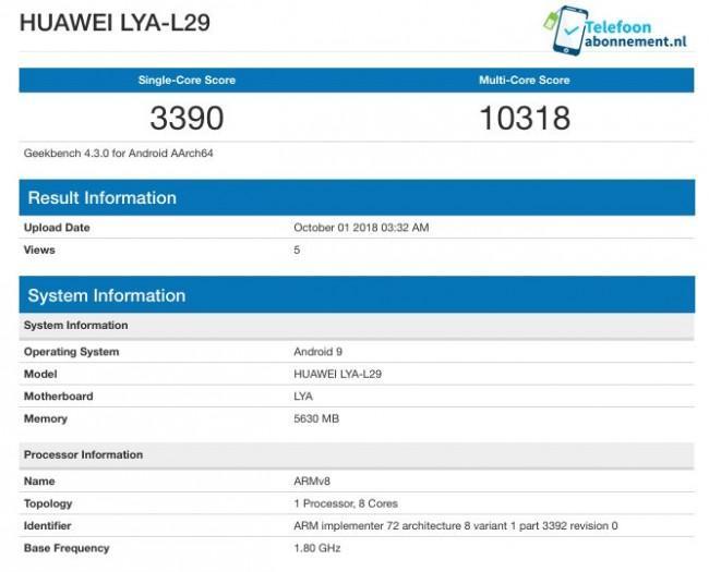 Resultado en Geekbench del Huawei Mate 20