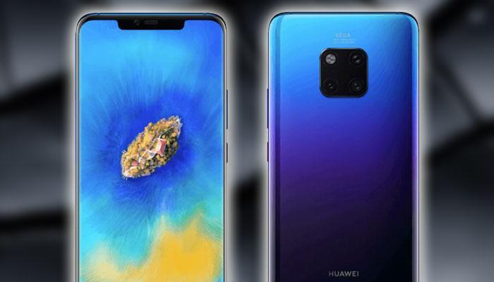 Huawei Mate 20 con fondo de color negro
