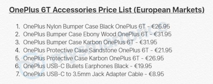 Precios accesorios del OnePlus 6T en Europa