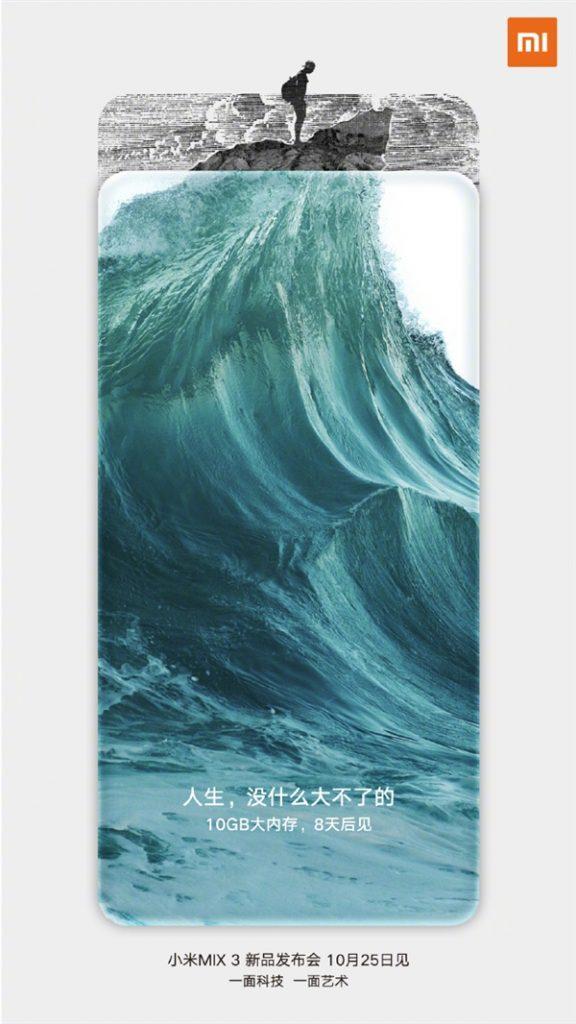Póster oficla muestra Xiaomi Mi Mix 3 con 10 GB de RAM