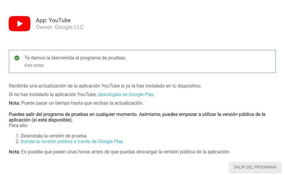 Programa beta de YouTube para android