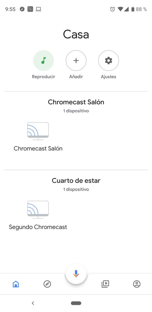 Interfaz de Google Home para Chromecast