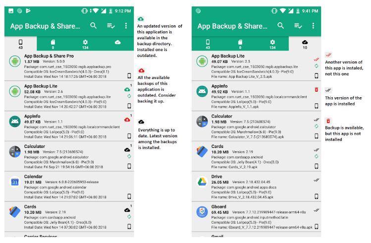 Aplicación App Backup & Share Pro