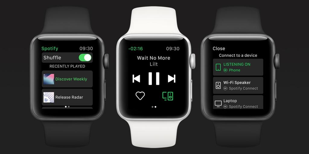 Interfaz de potify para Apple Watch