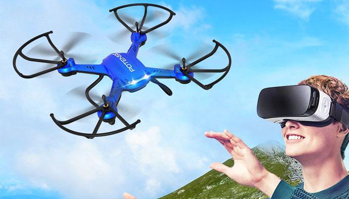 Imagen drone controlado con gafas VR