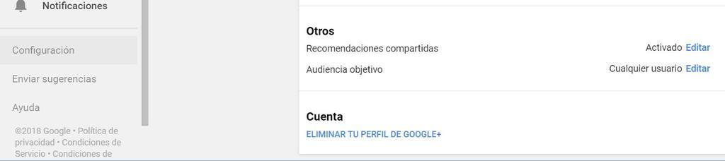 Eliminar cuenta Google+