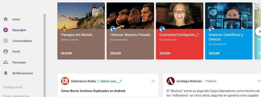 Interfaz web de Google+