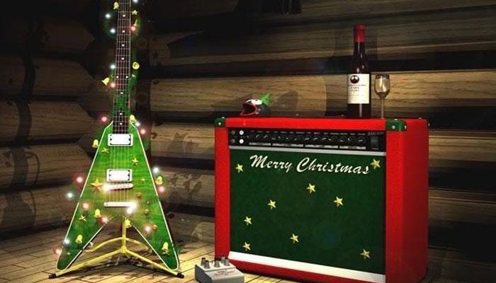 Música en Navidad guitarra árbol