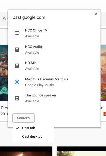 Nueva interfaz de envío de Chrome hacia Chromecast