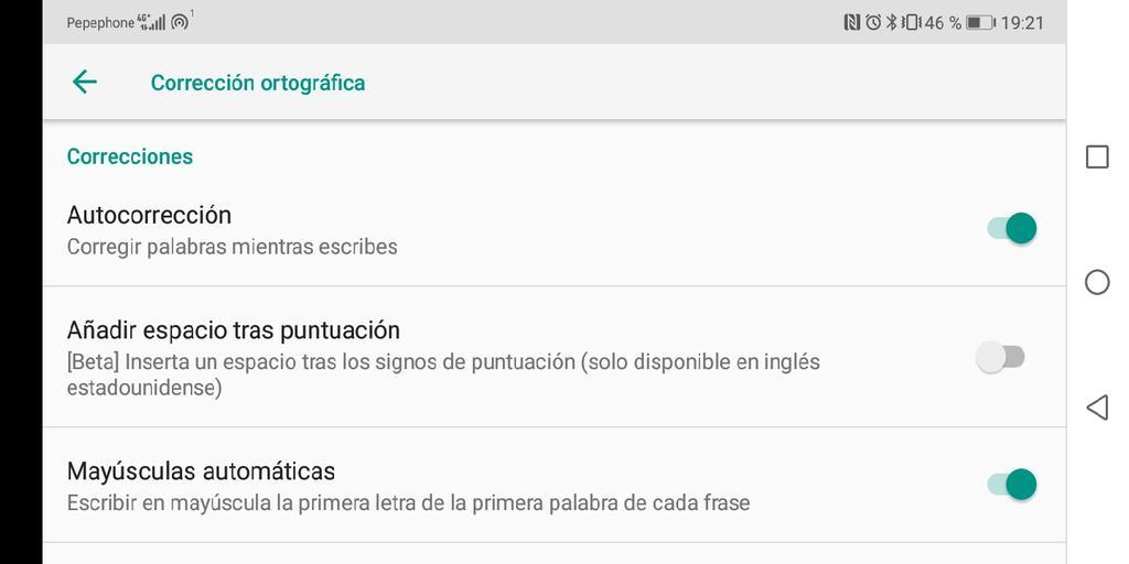 Desactivar el corrector del teclado de Google