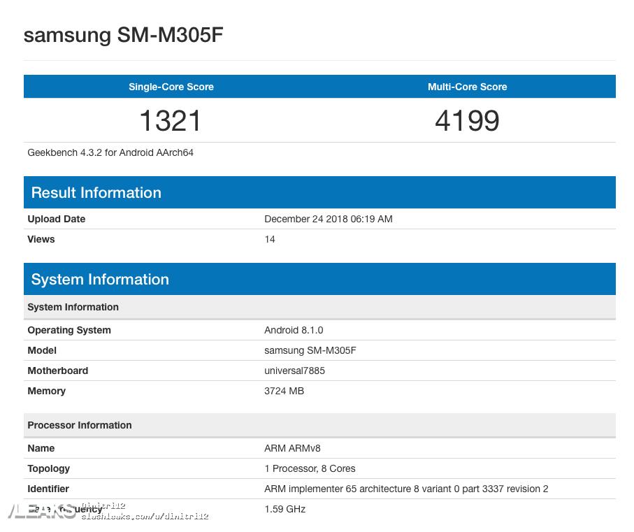 características del Samsung Galaxy M30 en benchmarks